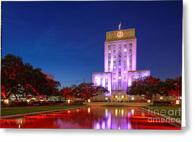 Long Street Greeting Cards - Houston City Hall during Christmas Time - Downtown Houston - Texas Greeting Card by Silvio Ligutti