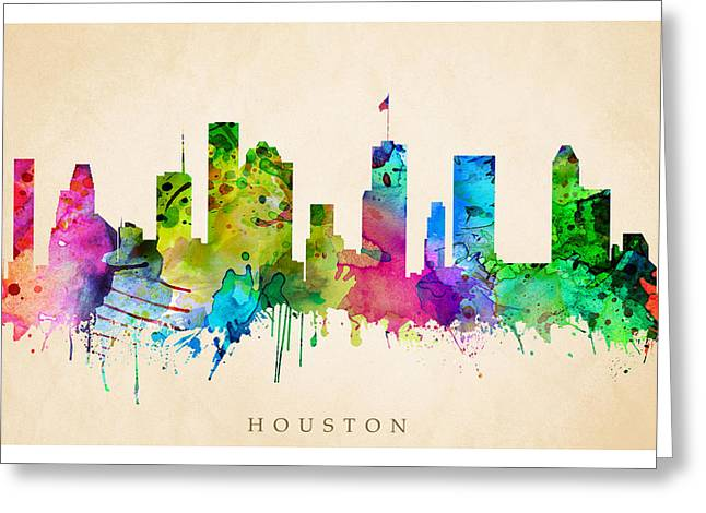 Steve Will Greeting Cards - Houston Cityscape Greeting Card by Steve Will