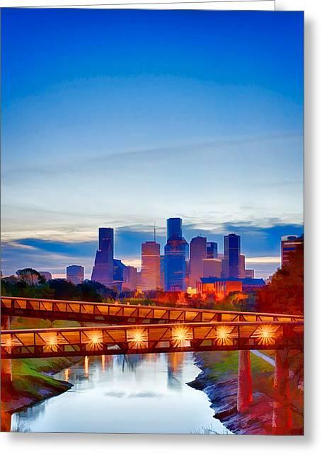 Kayta Kobayashi Greeting Cards - Houston Downtown in Watercolor Greeting Card by Kayta Kobayashi