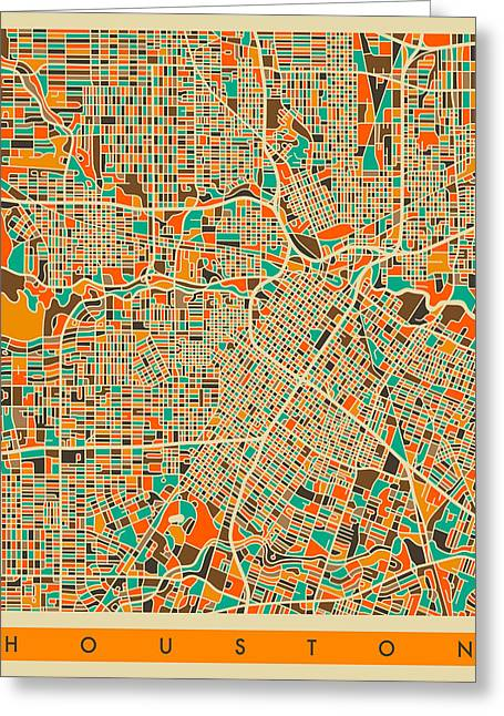 Abstract Retro Greeting Cards - Houston Map Greeting Card by Jazzberry Blue