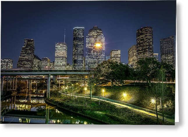 Glass Facades Greeting Cards - Houston on the Bayou Greeting Card by David Morefield