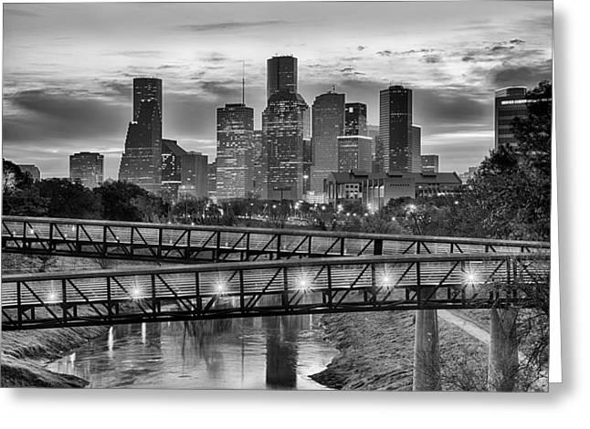Kayta Kobayashi Greeting Cards - Houston Over the Bridge in BW Greeting Card by Kayta Kobayashi