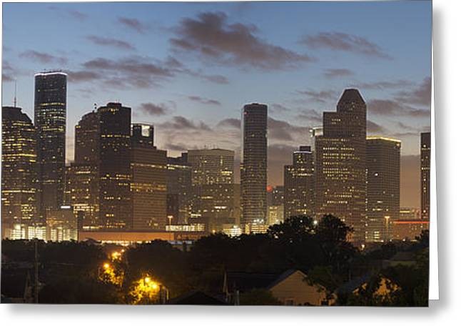 Skyline Photos Greeting Cards - Houston Panorama Image - the Skyline Before Sunrise 1 Greeting Card by Rob Greebon