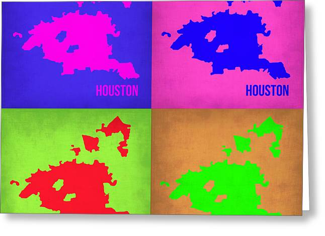 Houston Greeting Cards - Houston Pop Art Map 1 Greeting Card by Naxart Studio