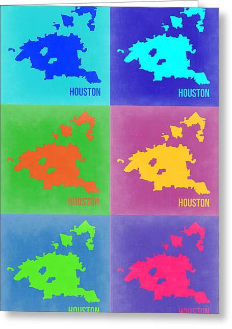 Houston Greeting Cards - Houston Pop Art Map 3 Greeting Card by Naxart Studio