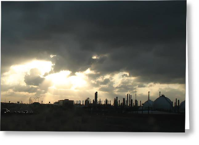 Houston Refinery At Dusk Greeting Card by Connie Fox