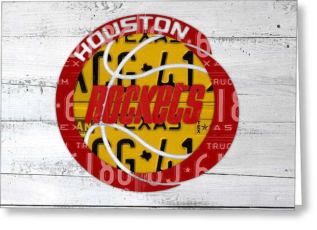 Artest Houston Rockets Greeting Cards - Houston Rockets Basketball Team Retro Logo Vintage Recycled Texas License Plate Art Greeting Card by Design Turnpike
