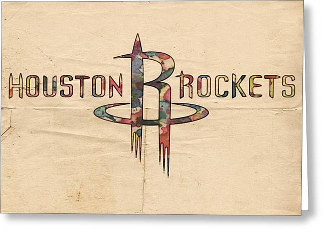 Slamdunk Digital Greeting Cards - Houston Rockets Poster Art Greeting Card by Florian Rodarte