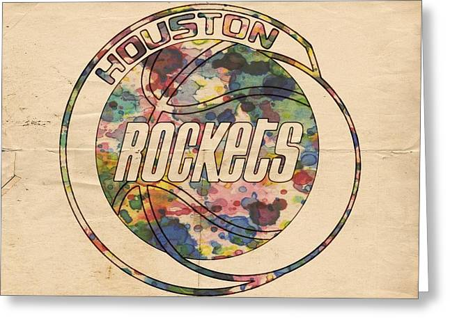 Slamdunk Digital Greeting Cards - Houston Rockets Vintage Poster Greeting Card by Florian Rodarte