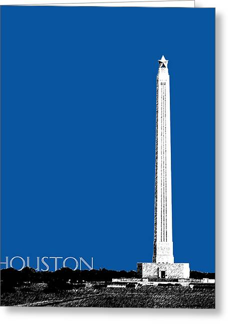 Pen Greeting Cards - Houston San Jacinto Monument - Royal Blue Greeting Card by DB Artist