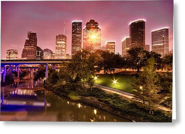 Kayta Kobayashi Greeting Cards - Houston skyline above Buffalo Bayou Greeting Card by Kayta Kobayashi