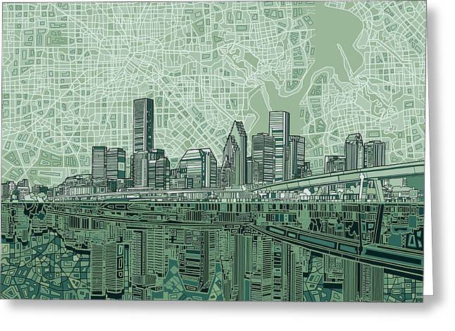 Houston Skyline Abstract 2 Greeting Card by Bekim Art