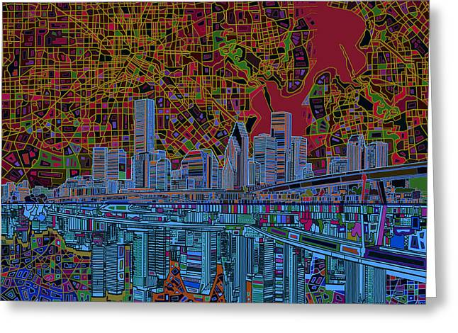 Modern Digital Art Digital Art Greeting Cards - Houston Skyline Abstract 3 Greeting Card by MB Art factory