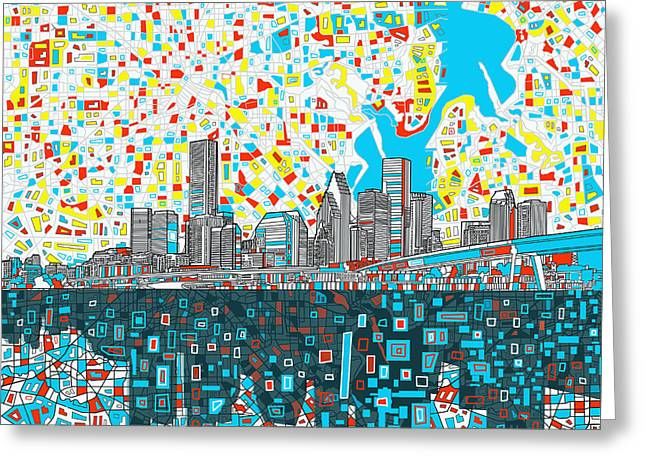 Modern Digital Art Digital Art Greeting Cards - Houston Skyline Abstract 8 Greeting Card by MB Art factory