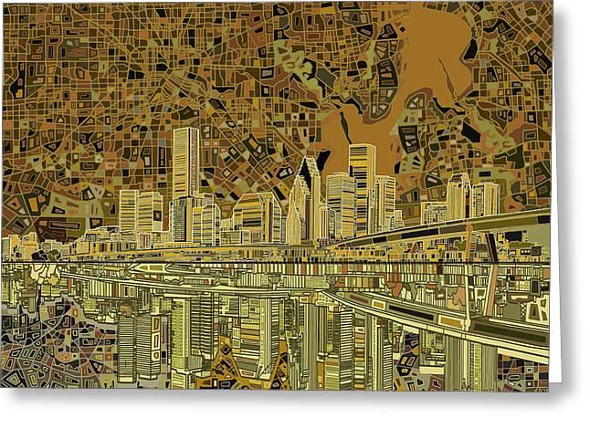Modern Digital Art Digital Art Greeting Cards - Houston Skyline Abstract Greeting Card by MB Art factory
