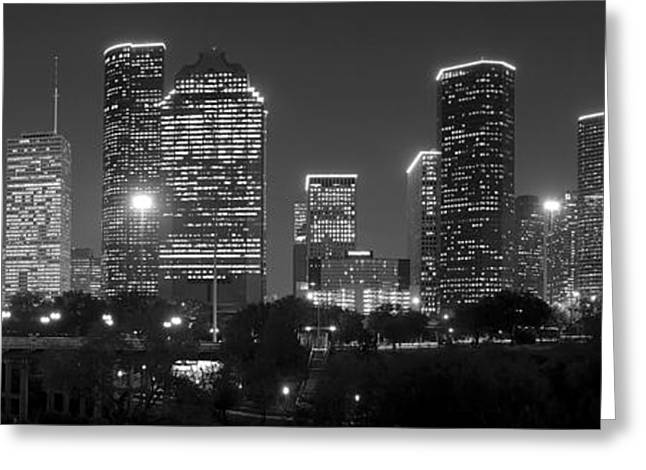 Cityscape Greeting Cards - Houston Skyline at NIGHT Black and White BW Greeting Card by Jon Holiday