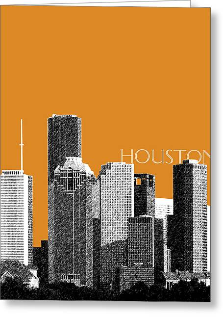 Pen And Ink Greeting Cards - Houston Skyline - Dark Orange Greeting Card by DB Artist