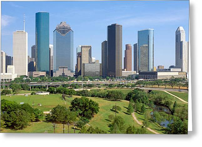Park Scene Greeting Cards - Houston Skyline, Memorial Park, Texas Greeting Card by Panoramic Images