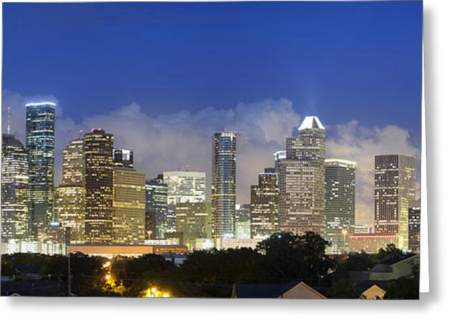 Skyline Photos Greeting Cards - Houston Skyline Panorama - View of Downtown 2 Greeting Card by Rob Greebon