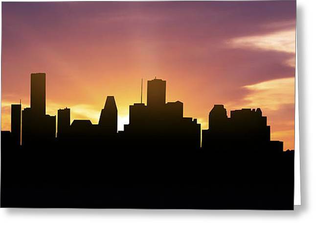 Down Town Greeting Cards - Houston Skyline Panorama Sunset Greeting Card by Aged Pixel