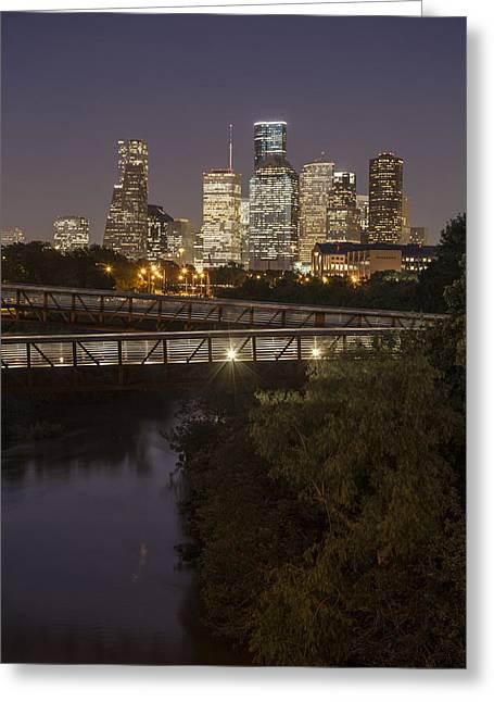 Best Sellers -  - Crosswalk Greeting Cards - Houston Sunset and Crosswalk Greeting Card by John McGraw