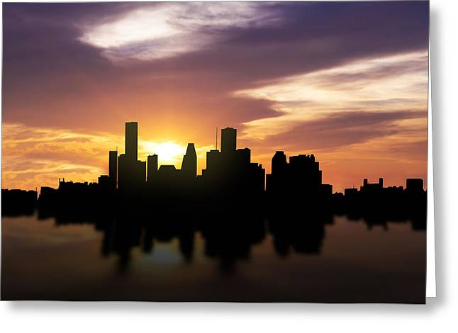 Office Space Greeting Cards - Houston Sunset Skyline  Greeting Card by Aged Pixel