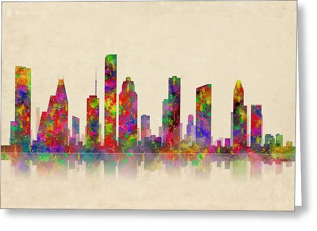 Gas Tower Greeting Cards - Houston Texas Skyline Greeting Card by Daniel Hagerman