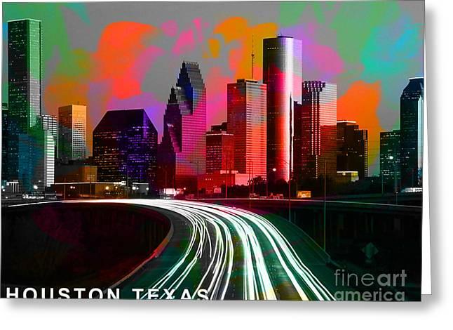 Houston Texas Skyline  Greeting Card by Marvin Blaine
