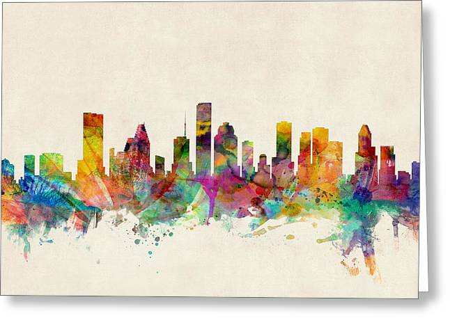 Urban Watercolour Greeting Cards - Houston Texas Skyline Greeting Card by Michael Tompsett