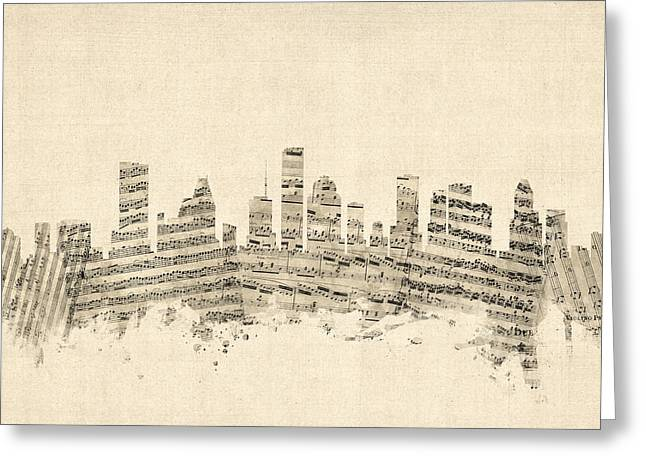 Sheet Music Digital Art Greeting Cards - Houston Texas Skyline Sheet Music Cityscape Greeting Card by Michael Tompsett