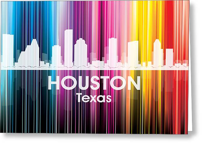 Concrete Jungle Mixed Media Greeting Cards - Houston TX 2 Greeting Card by Angelina Vick