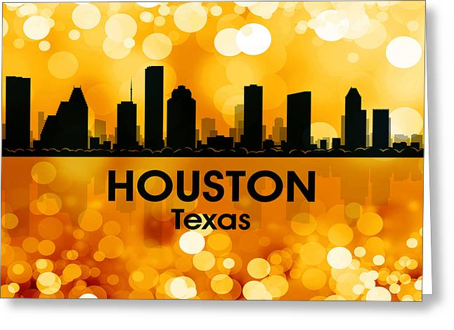 Concrete Jungle Mixed Media Greeting Cards - Houston TX 3 Greeting Card by Angelina Vick