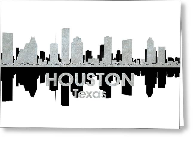 Abstract Silhouette Mixed Media Greeting Cards - Houston TX 4 Greeting Card by Angelina Vick