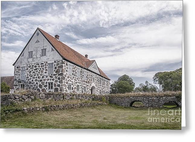 Red Roofed Barn Greeting Cards - Hovdala Castle From Moat Greeting Card by Antony McAulay