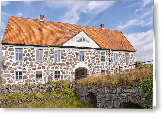 Red Roofed Barn Greeting Cards - Hovdala Slott From Moat Greeting Card by Antony McAulay