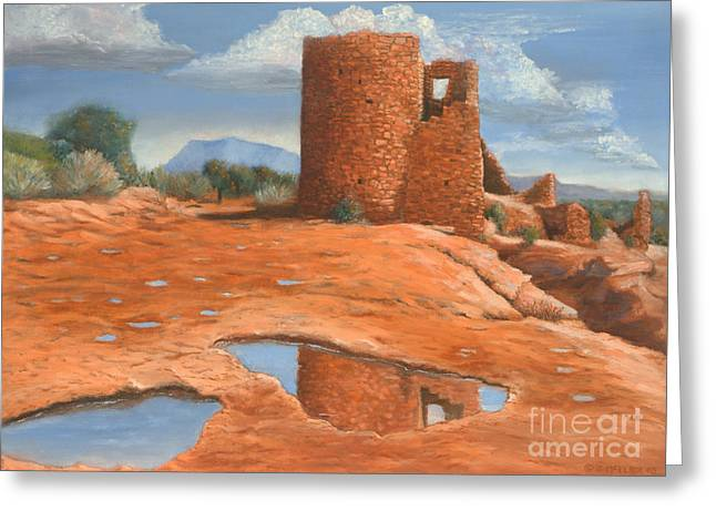 Anasazi Greeting Cards - Hovenweep Reflection Greeting Card by Jerry McElroy