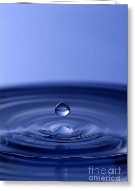 Water Drop Greeting Cards - Hovering Blue Water Drop Greeting Card by Anthony Sacco