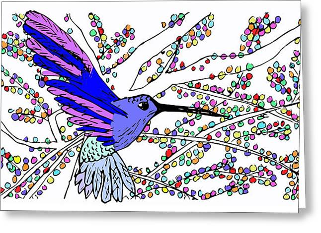 Hovering Mixed Media Greeting Cards - Hovering Hummingbird Greeting Card by Chantel Martins