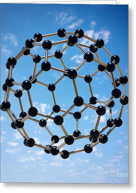 Molecular Greeting Cards - Hovering Molecule Greeting Card by Carlos Caetano