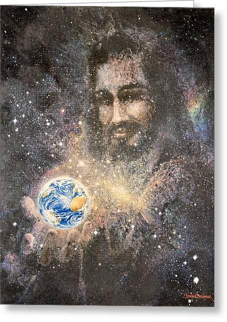Planet Paintings Greeting Cards - How Big is Your Problem Greeting Card by Graham Braddock