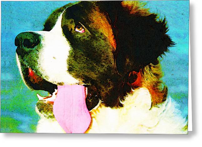 Veterinary Greeting Cards - How Bout A Kiss - St Bernard Art by Sharon Cummings Greeting Card by Sharon Cummings