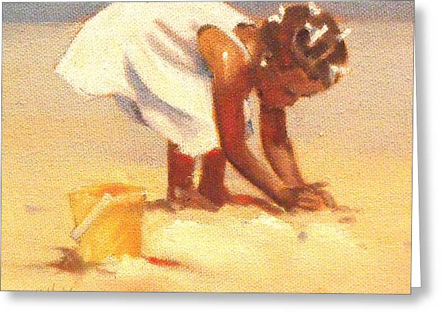 Sand Castles Greeting Cards - How Castles Start Greeting Card by Mary Hubley