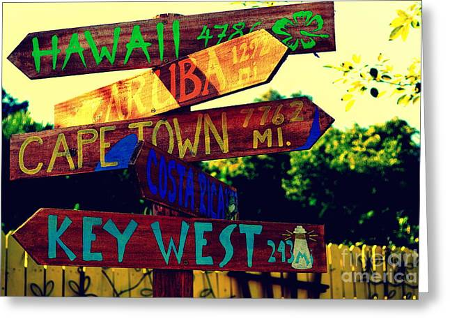 Cape Town Greeting Cards - How Far is it To Key West Greeting Card by Susanne Van Hulst