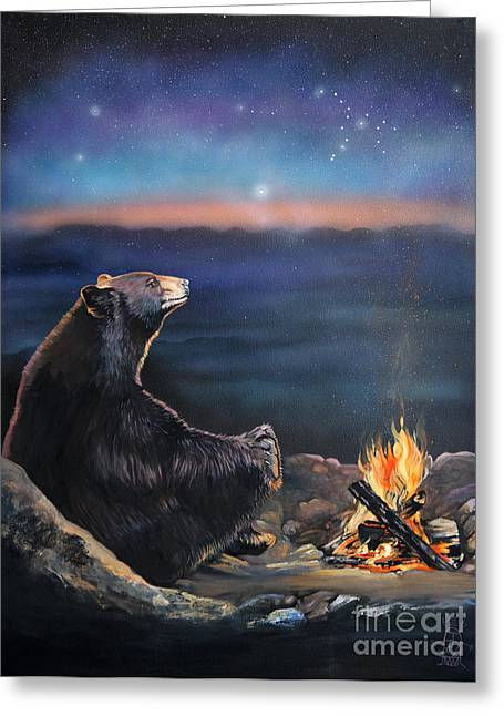 Aged Greeting Cards - How Grandfather Bear created the Stars Greeting Card by J W Baker
