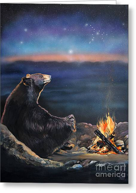 How Grandfather Bear Created The Stars Greeting Card by J W Baker