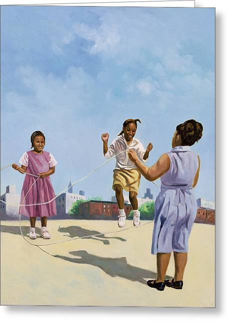 Schoolgirl Paintings Greeting Cards - How High Greeting Card by Colin Bootman