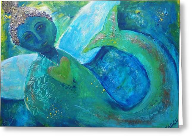 Angel Mermaids Ocean Paintings Greeting Cards - How It Feels To Be Me Greeting Card by Indigo Carlton
