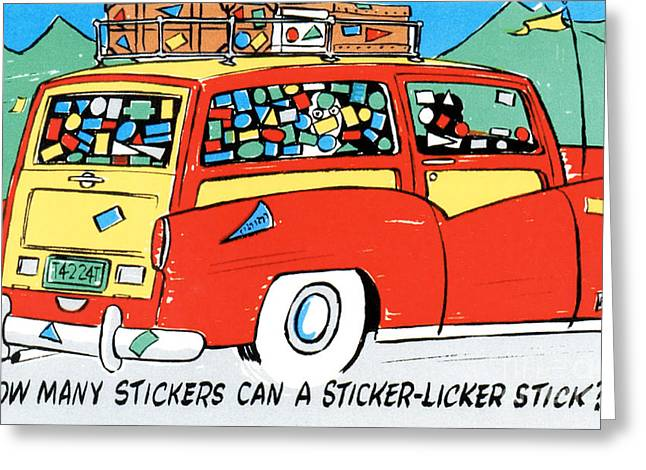 How Many Stickers Can A Sticker-licker Stick Greeting Card by Eldon Frye
