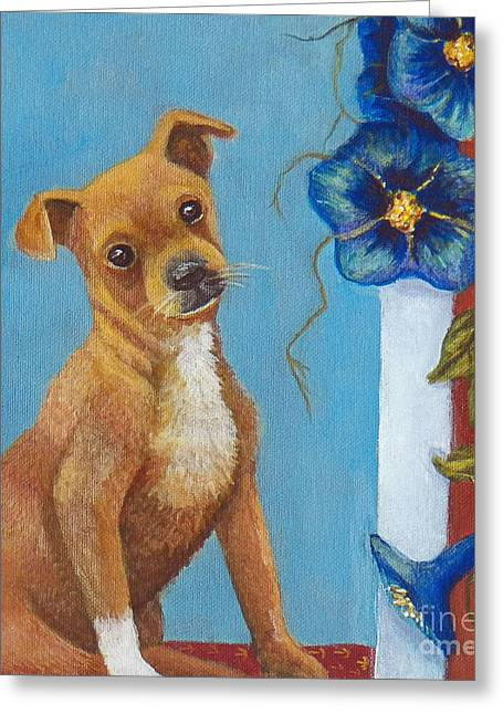 Puppies Paintings Greeting Cards - How much is that doggy in the Window? Greeting Card by Alina Martinez-beatriz