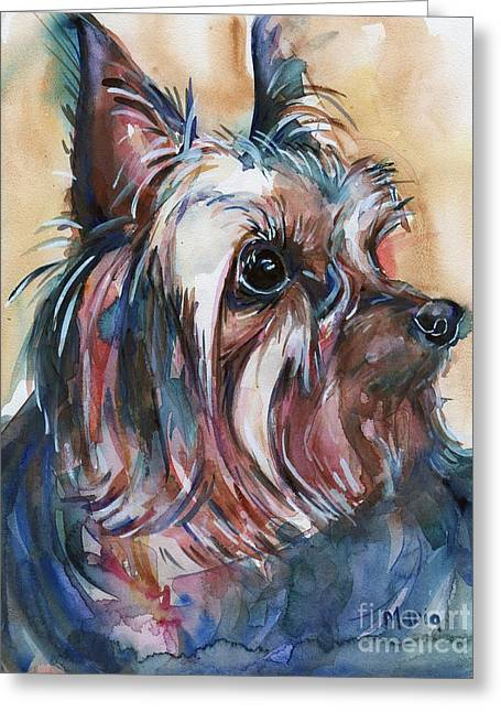 Yorkshire Terrier Watercolor Greeting Cards - How Much Longer Greeting Card by Maria